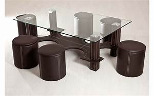 Table Basse 4 Poufs : table basse blanche avec 6 poufs le bois chez vous ~ Teatrodelosmanantiales.com Idées de Décoration