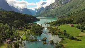Beautiful, Nature, Norway, Natural, Landscape, Aerial, Footage, Lovatnet, Lake, Lodal, Valley, Stock