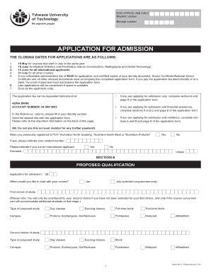 tut  application    apply closing date