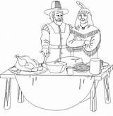 Thanksgiving Coloring Pages Feast Pilgrim Indian Printable Disney Happy Print sketch template