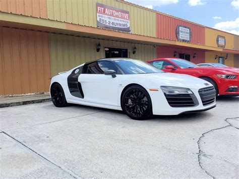 Audi R8 Custom Wrapped White With Custom Painted Wheels