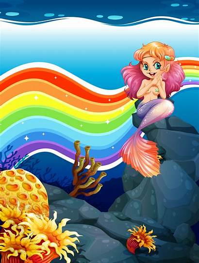 Mermaid Rainbow Vector Underwater Scene Ocean Background