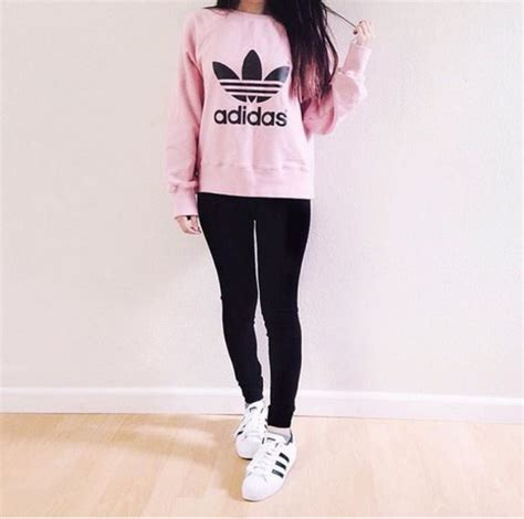 Shirt pink adidas sweater addias sweater cute outfit tumblr outfit shoes adidas sweater ...