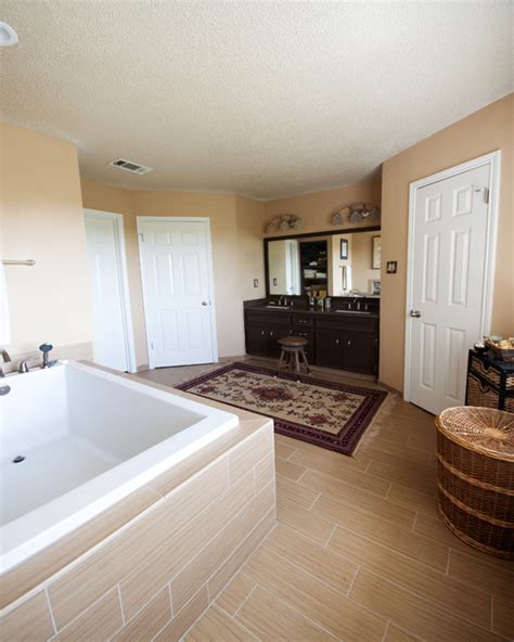 faux wood tile equals calm bathroom remodel traditional