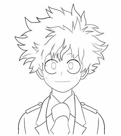 Academia Hero Coloring Midoriya Boku Pages Drawing