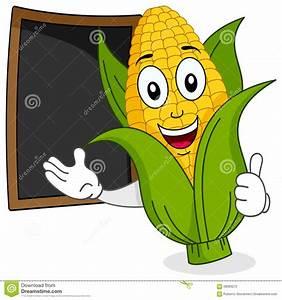 Cheerful Corn Cob With Menu Blackboard Stock Vector ...