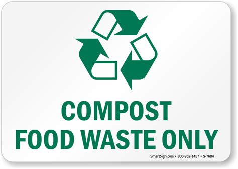 metal trash compost food waste only with graphic sign recycling sign