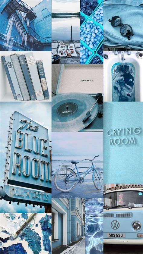 blue aesthetic collage wallpapers