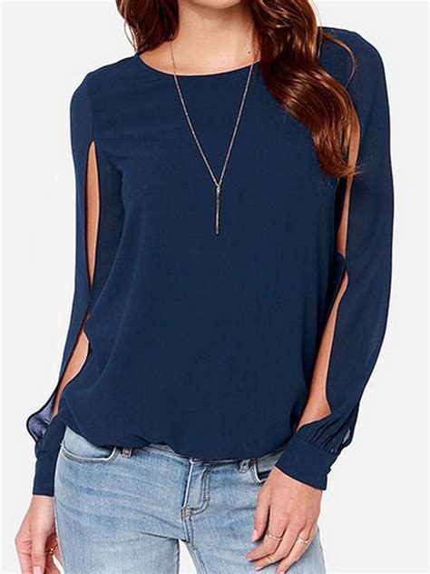 navy blouses navy blue slit sleeve chiffon blouse plus size