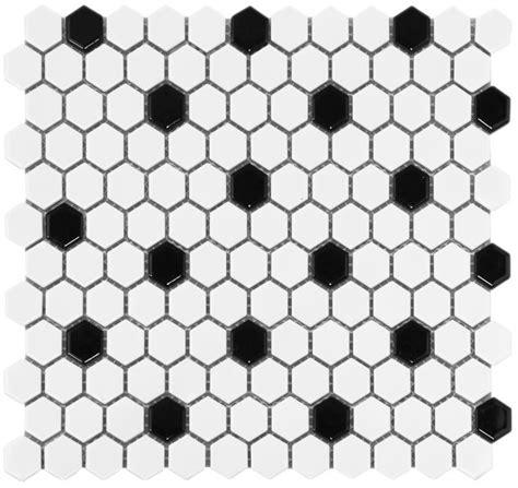 white hexagon black dot glazed ceramic mosaic floor and