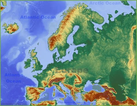 physical map  europe