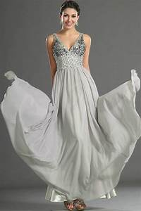 gray bead chiffon custom evening dress prom gown wedding With gray dress for wedding