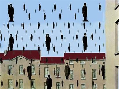 Magritte Golconda Raining Surrealist Rene Belgian Golconde