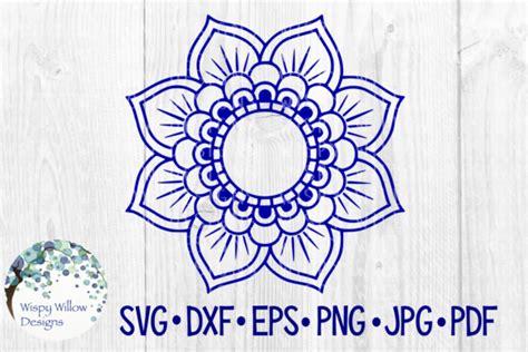 mandala flower border  monogram circle frame cut file graphic  wispywillowdesigns