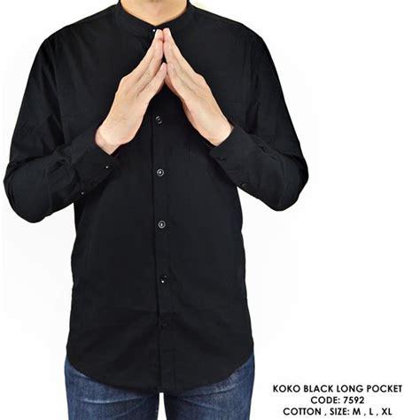 jual baju kemeja lengan panjang kerah koko warna polos hitam murah di lapak fashionote1