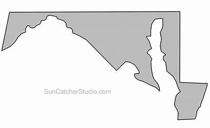 Maryland State Outline Map Shape Massachusetts Printable