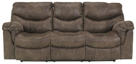 signature design by alzena gunsmoke reclining sofa with casual style furniture mart