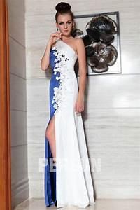 robe fendue de soiree blanche et bleu encolure asymetrique With robe blanche et bleu