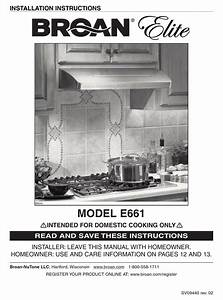 Broan Elite E661 Installation Instructions Manual Pdf
