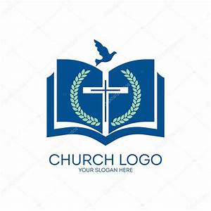 Church logo. Fig, cross, Bible,, pages, dove, icon, blue ...