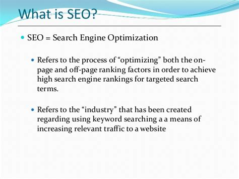What Is Meant By Seo by Seo Search Engine Optimization Introduction