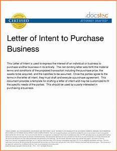 6 letter of intent to purchase business template With letter of intent to buy a business template