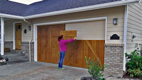 diy wood garage door garageskins give you a wood look without the cost woods