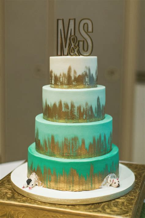 Teal Mint And Gold Modern Wedding Wedding Cake Roses