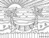 Coloring Pages Beach Sunset Simple Decoration Printable Print Sheets Getcolorings Colorings sketch template