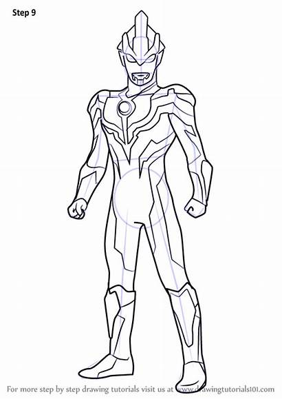 Ultraman Coloring Draw Ginga Drawing Pages Step
