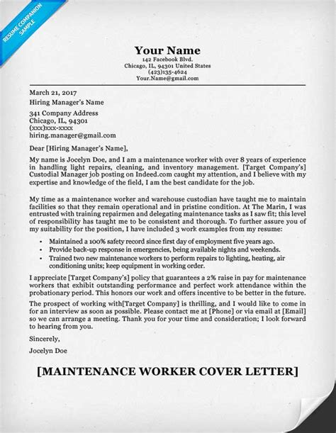 Resume For Maintenance Worker by Maintenance Worker Cover Letter Sle Resume Companion
