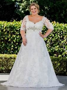 Plus size lace wedding dresses with sleeves 2016 2017 for Plus wedding dress with sleeves
