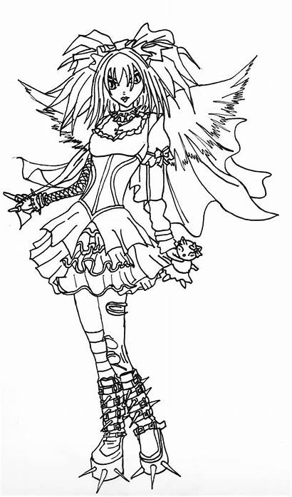 Angel Gothic Coloring Pages Dark Adults Designs