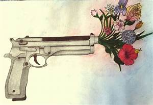 Drawn bullet gun shooting - Pencil and in color drawn ...