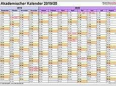 Akademischer Kalender 20192020 als PDFVorlagen zum