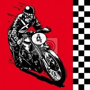 Cuadro moto motocycle retro vintage illustration vector clásico • Posters y Cuadros sobre tela