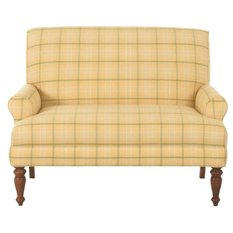 traditional upholstered love seat  wood legs