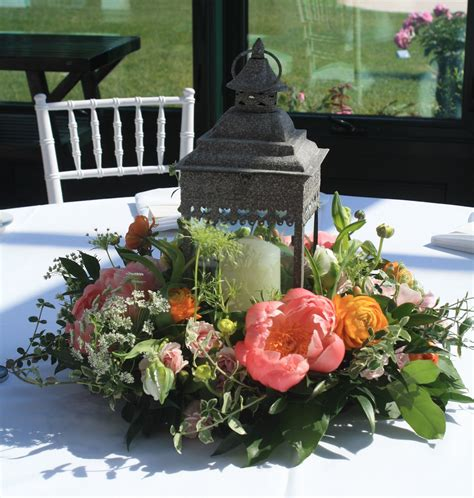 Lantern with flower ring peonies a favorite of mine