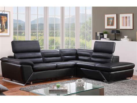canape d angle cuir noir canapé d 39 angle gauche ou droit en cuir noir fergus