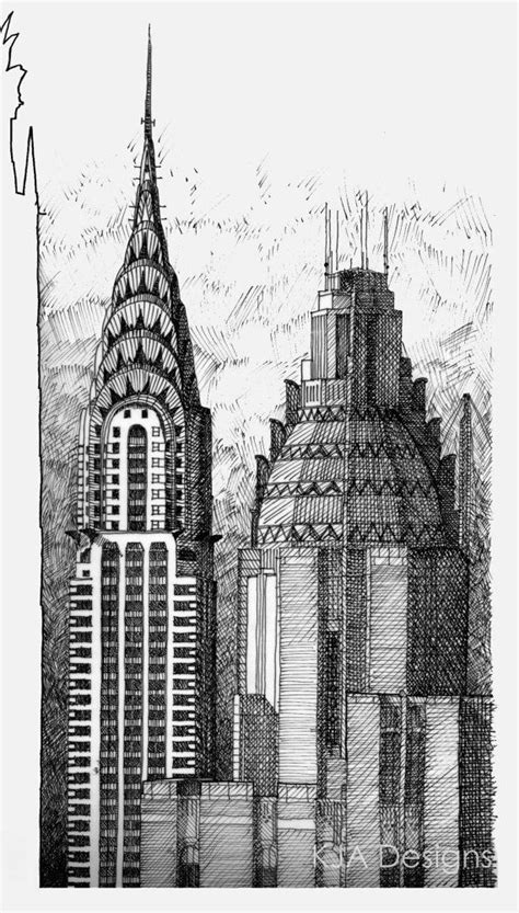chrysler building  ink drawing print limited