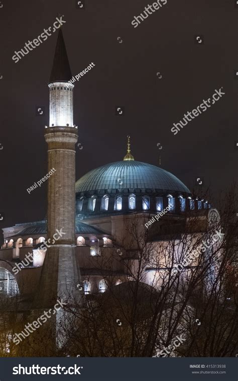 Hagia Sophia Night Turkey Stock Photo 415313938
