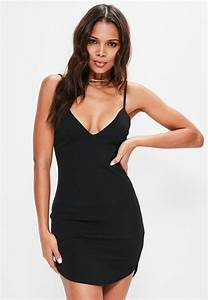 black strappy plunge bodycon dress missguided With robe courte noire moulante