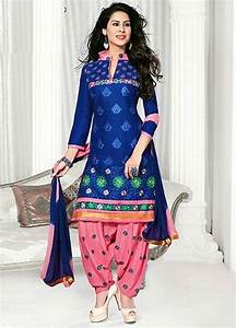 Buy Blue embroidered Cotton unstitched salwar with dupatta