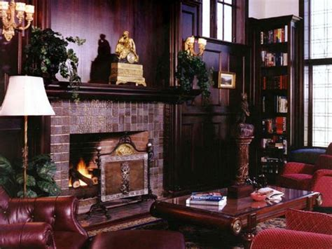 traditional formal living room  brick fireplace