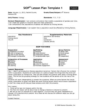 Siop Lesson Plan Template 2 Exle by Lesson Plan Template Forms Fillable Printable Sles