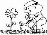 Coloring Gardener Watering Flower Coloringsun sketch template