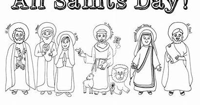 Saints Coloring Souls Celebrating Pages Catholic Sheets