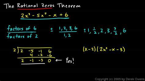 Algebra 2 607a  The Rational Zeros Theorem, Part 1 Youtube