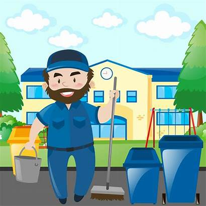 Janitor Campus Custodian Cleaning Clip Vector Female
