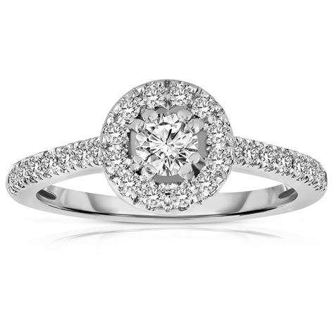half carat cut halo diamond engagement ring in white gold jeenjewels